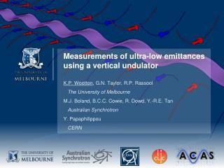 Measurements of ultra-low  emittances  using a vertical  undulator