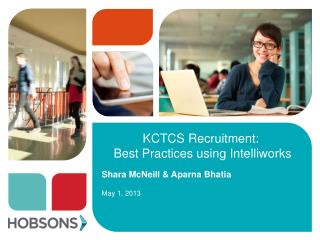 KCTCS Recruitment:  Best Practices using  Intelliworks