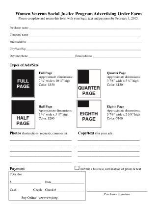 Women Veteran Social Justice Program Advertising Order Form