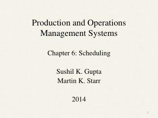 Production and Operations Management Systems