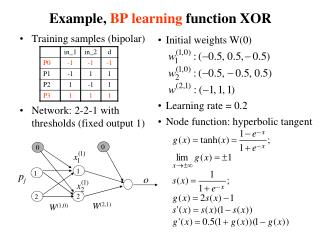 Example,  BP learning  function XOR