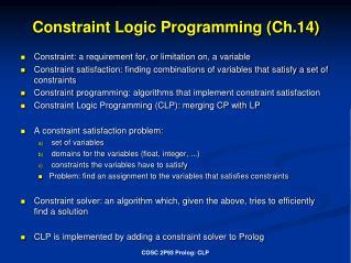 Constraint Logic Programming (Ch.14)