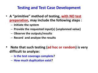 Testing and Test Case Development