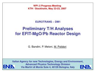 Preliminary T/H Analyses for EFIT-MgO/Pb Reactor Design