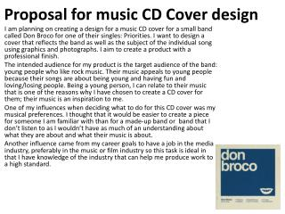 Proposal for music CD Cover design