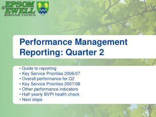 Performance Management Reporting: Quarter 2