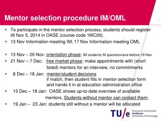 Mentor selection procedure IM/OML