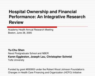 Hospital Ownership and Financial Performance: An Integrative Research Review
