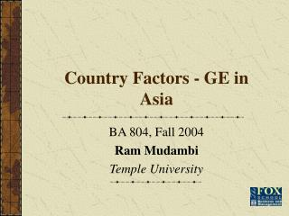 Country Factors - GE in Asia