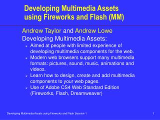 Developing Multimedia Assets using Fireworks and Flash (MM)