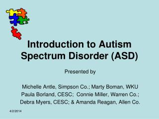 Introduction to Autism Spectrum Disorder ASD
