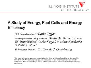 A Study of Energy, Fuel Cells and Energy Efficiency