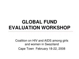 GLOBAL FUND EVALUATION WORKSHOP