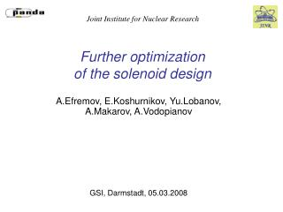 Further optimization  of the solenoid design