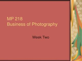 MP 218 Business of Photography