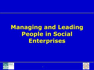Managing and Leading People in Social Enterprises
