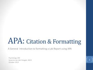 APA:  Citation & Formatting