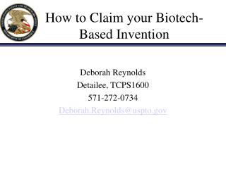 How to Claim your Biotech-Based Invention