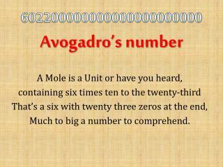 602200000000000000000000 Avogadro's number