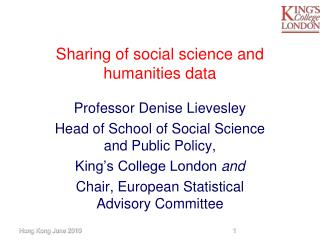 Sharing of social science and humanities data