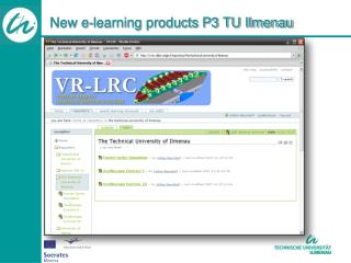 New e-learning products P3 TU Ilmenau