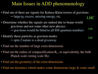 Main Issues in ADD phenomenology