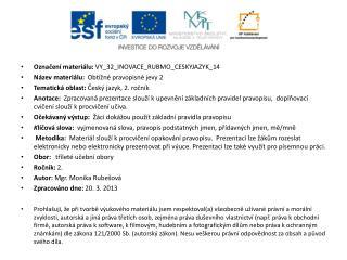 Označení materiálu: VY_32_INOVACE_RUBMO_CESKYJAZYK_14