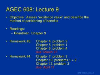 AGEC 608: Lecture 9