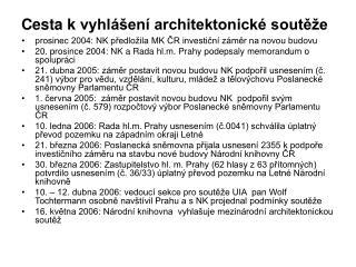Cesta kvyhlášení architektonické soutěže
