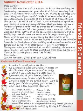Autumn Newsletter 2014