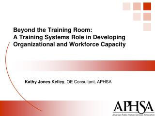 Beyond the Training Room:  A Training Systems Role in Developing Organizational and Workforce Capacity