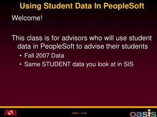 Using Student Data In PeopleSoft