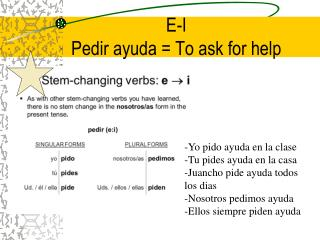 E-I Pedir ayuda = To ask for help