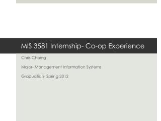 MIS 3581 Internship- Co-op Experience