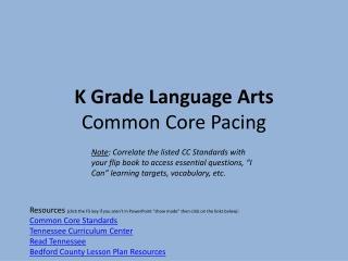 K Grade Language  Arts Common  Core Pacing