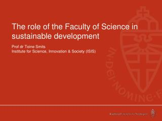 The role of the Faculty of Science in sustainable development