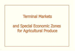 Terminal Markets   and Special Economic Zones  for Agricultural Produce