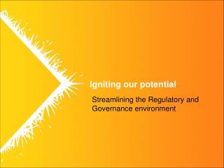 Streamlining the Regulatory and Governance environment