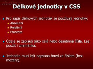 D�lkov� jednotky v CSS
