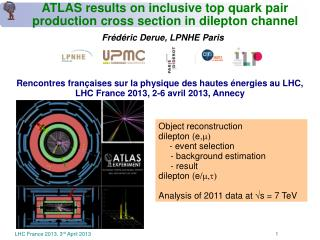 ATLAS results on inclusive top quark pair  production cross section in dilepton channel