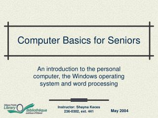 Computer Basics for Seniors