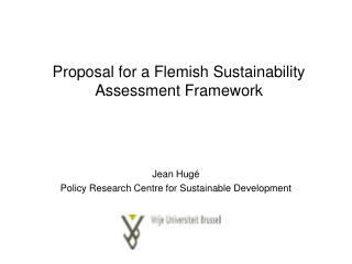 Proposal for a Flemish Sustainability Assessment Framework