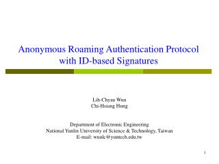 Anonymous Roaming Authentication Protocol  with ID-based Signatures