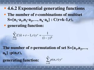 4.6.2 Exponential generating functions