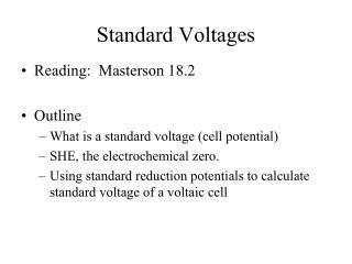 Standard Voltages
