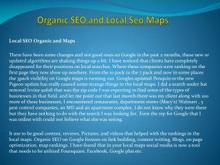 Organic SEO and Local Seo Maps