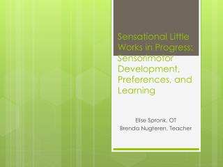 Sensational Little Works in Progress: Sensorimotor Development, Preferences, and Learning