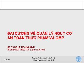 GS TS BS L� HO�NG NINH Bi�n so?n theo t�i Li?U c?a  FAO