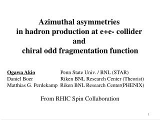 Azimuthal asymmetries  in hadron production at e+e- collider  and