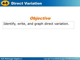 Identify, write, and graph direct variation.